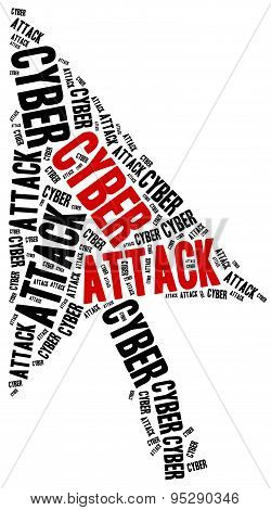 Cyber Attack Or Internet Crime. Word Cloud Illustration.