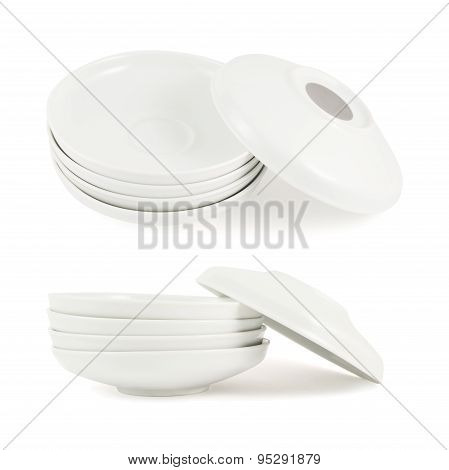 One plate dish over another stack