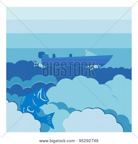 Vector Illustration Background Water And Cloud With Motorboat And Bass