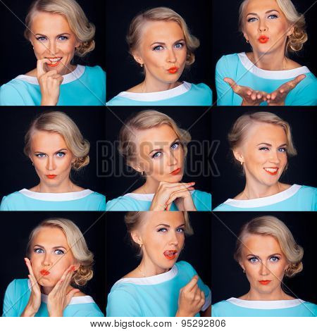 Photo booth. Multiple facial expressions of beautiful woman isolated over black.