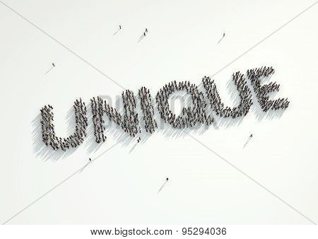 Aerial Shot Of A Crowd Of People Gathered Together To Form The Word 'unique'. Concept For How Every