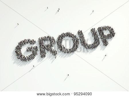 Aerial Shot Of A Crowd Of People Forming The Word 'group'. Concept For How People Follow Each Other