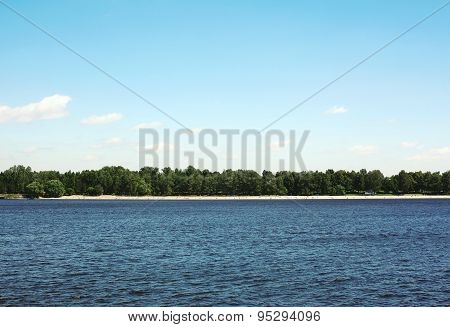 Sea And Blue Sky Background, Long Distance Land, Beach And Vegetation