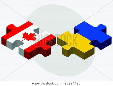 Canada And Ukraine Flags