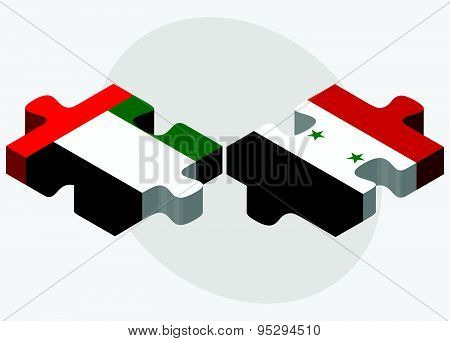 United Arab Emirates And Syria Flags
