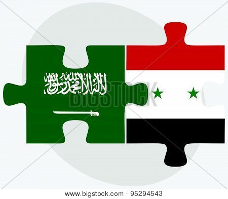 Saudi Arabia And Syria Flags