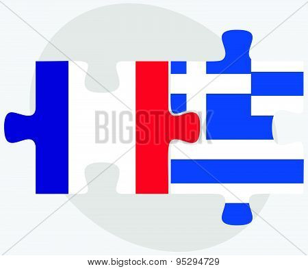 France And Greece Flags