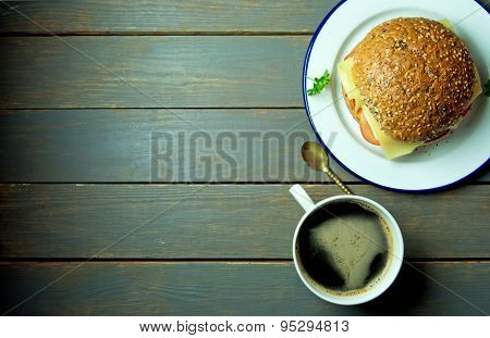Deli Sandwich With Coffee And Copy Space
