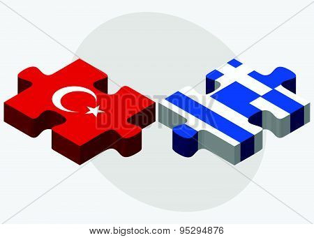 Turkey And Greece Flags