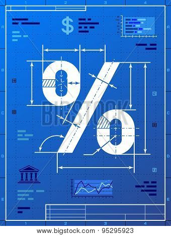 Percent Sign Like Blueprint Drawing