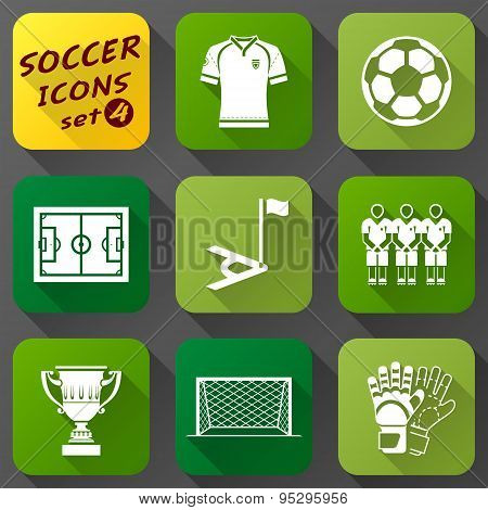Flat Icons Set Of Soccer Elements