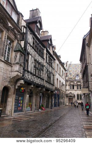 Half-timbered Houses In The Old Town Of Dijon