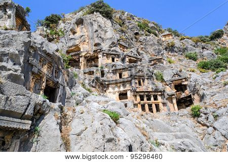 Ancient rock tombs in Turkey.