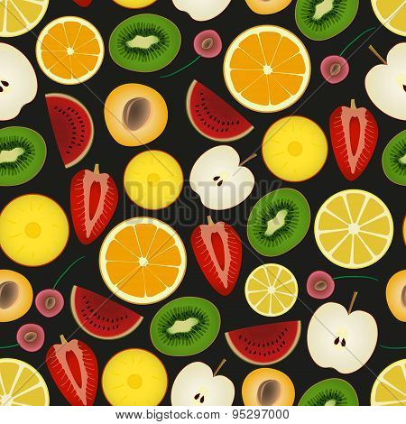Colorful Sliced Various Fruit Summer Seamless Dark Pattern Eps10