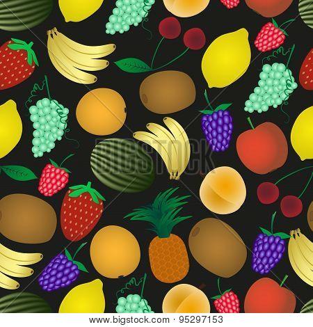 Colorful Various Fruit Summer Seamless Dark Pattern Eps10