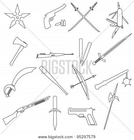 Weapons And Guns Simple Outline Icons Eps10