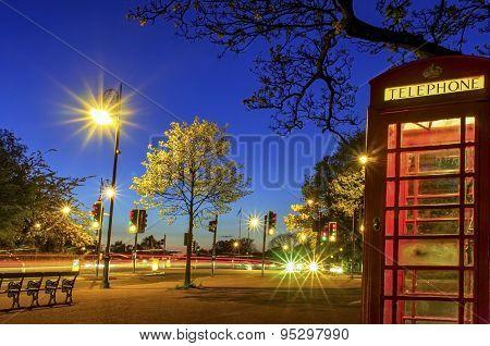 London Golden Light Telephone Booth