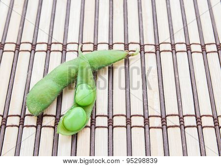 Fresh Green Soybeans On Wooden Background