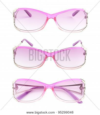 Stylish pink female glasses isolated