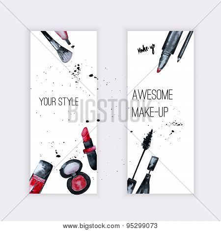 Vector Watercolor Glamorous Make Up Set Of  Banners With Nail Polish And Lipstick.creative Design Fo