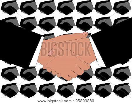 Handshake with stylized background