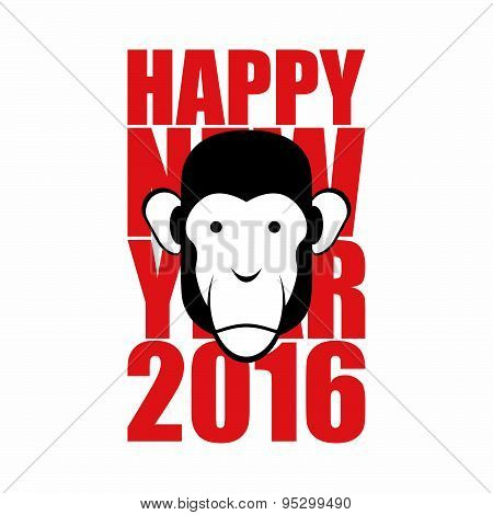Happy new year 2016. Year of monkey. Animal on  Chinese calendar. Vector illustration