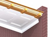 foto of soffit  - Cross section of wooden overlap in a brick house - JPG
