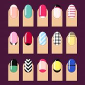 pic of nail-design  - Vector set of trendy nail designs - JPG