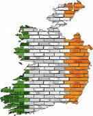Постер, плакат: Ireland Map On A Brick Wall