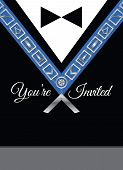 picture of mason  - Masonic invitation vector template showing an officer jewel and tuxedo for freemasonry events - JPG