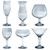 picture of champagne color  - Set of empty opaque glass goblets for wine cocktail champagne and cognac - JPG
