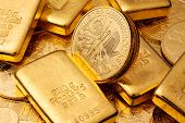 stock photo of gold  - Investment in real gold than gold bullion and gold coins - JPG