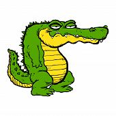 stock photo of alligators  - A vector illustration of a funny green and yellow cartoon alligator - JPG