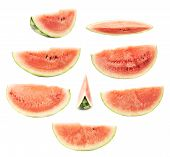 stock photo of watermelon slices  - Slice of a watermelon fruit isolated over the white background - JPG