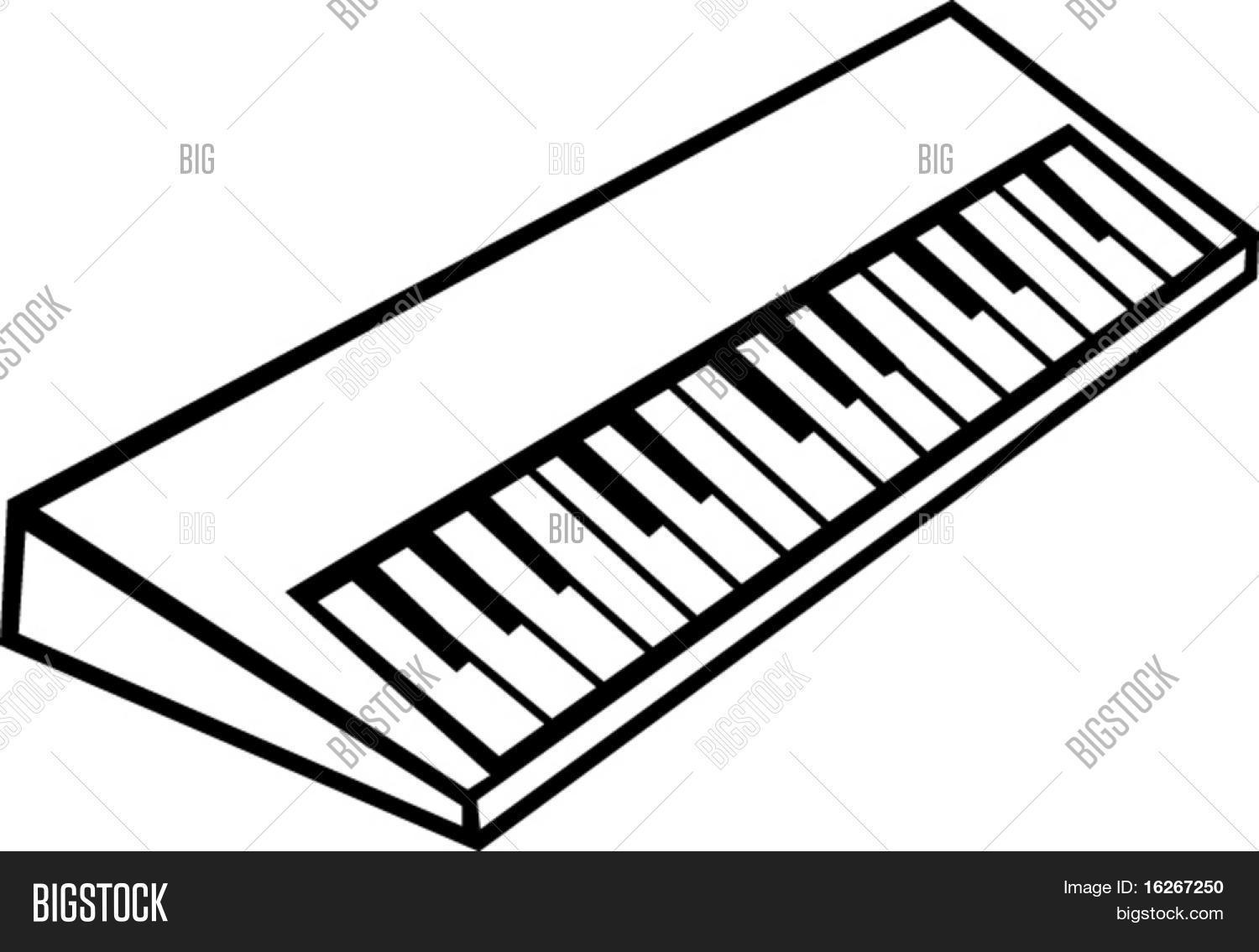 Line Drawing Keyboard : Electronic musical synthesizer vector photo bigstock