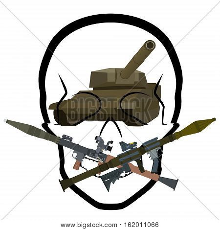 Armored vehicles on a background of a human skull and anti-tank grenades RPG. The illustration on a white background.