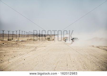 Jeeps traditional Safari Dune Bashing with tourists Oman Ubar in Desert Rub al Khali 3