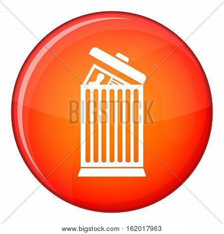 Resume thrown away in the trash can icon in red circle isolated on white background vector illustration