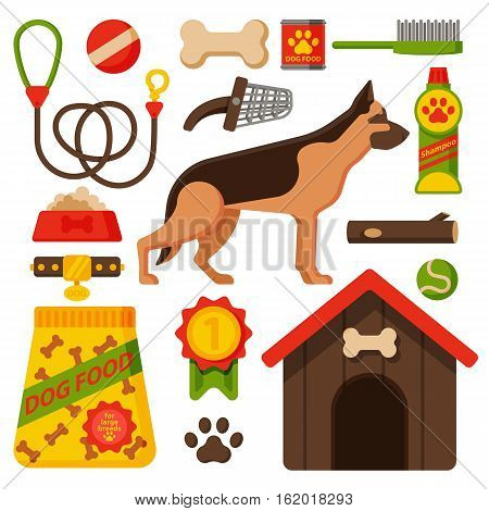 Vector illustration funny thoroughbred on white background. German shepherd dog nature attentive happy pet. Domestic mammal pedigree canine food and accessory.