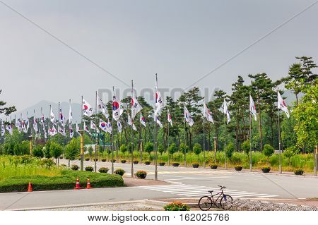 National Flag Street at National Cemetery Daejeon South Korea 25 may 2016