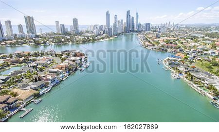 Aerial view of Gold Coast waterways between Macintosh and Cronin Islands looking towards Surfers Paradise