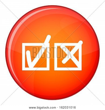 Checkmark to accept and refusal icon in red circle isolated on white background vector illustration