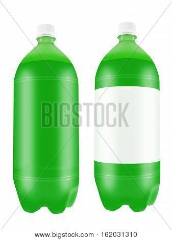 Refreshing green soda drink in two liter plastic bottles isolated on white background. 3D illustration.