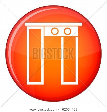 Security gate at entrance of airport icon in red circle isolated on white background vector illustration