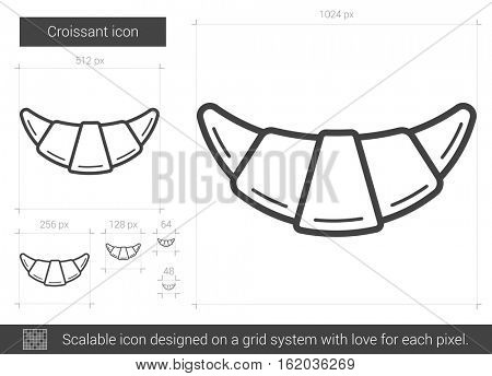 Croissant vector line icon isolated on white background. Croissant line icon for infographic, website or app. Scalable icon designed on a grid system.