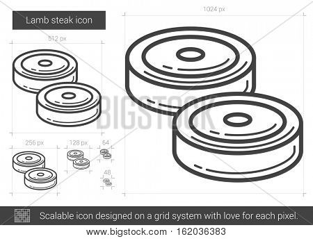 Lamb steak vector line icon isolated on white background. Lamb steak line icon for infographic, website or app. Scalable icon designed on a grid system.