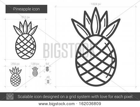 Pineapple vector line icon isolated on white background. Pineapple line icon for infographic, website or app. Scalable icon designed on a grid system.