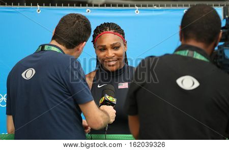 RIO DE JANEIRO, BRAZIL - AUGUST 7, 2016:Olympic champion Serena Williams of United States during TV interview after singles first round match of the Rio 2016 Olympic Games at the Olympic Tennis Centre