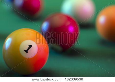 billiard balls on a green felts table