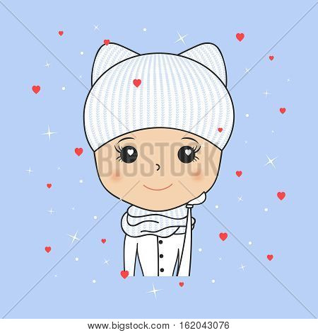 Beautiful woman in cozy winter hat with kitty ears, scarf and mittens. Saint Valentine day. Hearts and snowflakes. Young girl portrait. Cartoon character smiling. Vector illustration. Fashion beauty.